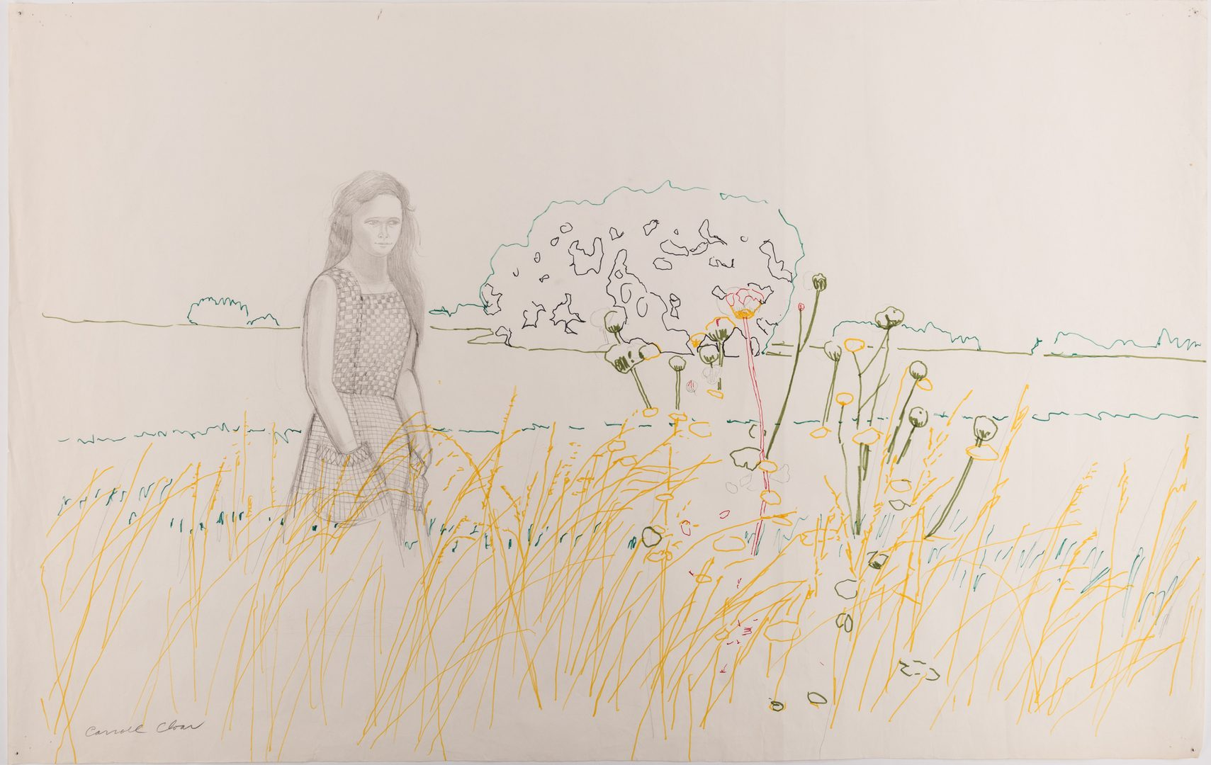 Lot 130: Carroll Cloar Drawing, Woman in Field