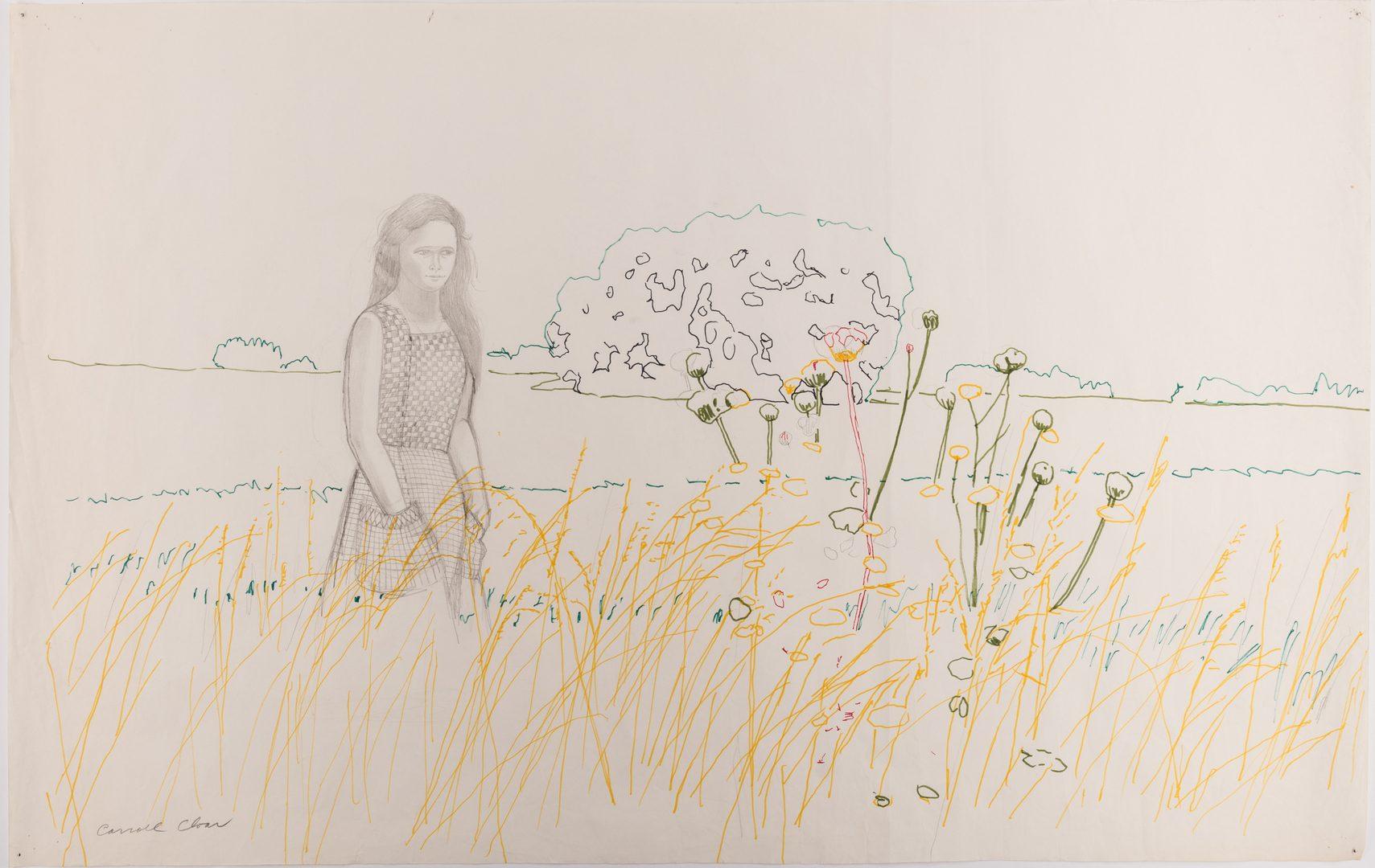 Lot 130: Carroll Cloar Drawing, Woman in Field