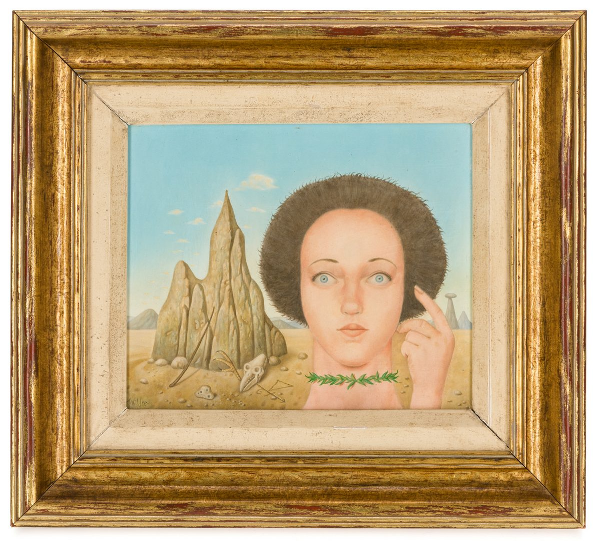 Lot 132: Werner Wildner Oil on Panel, Girl Bewitched