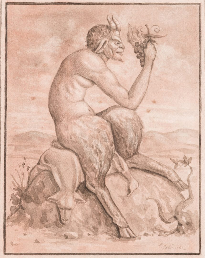 Lot 133: Werner Wildner Framed Drawing, Satyr