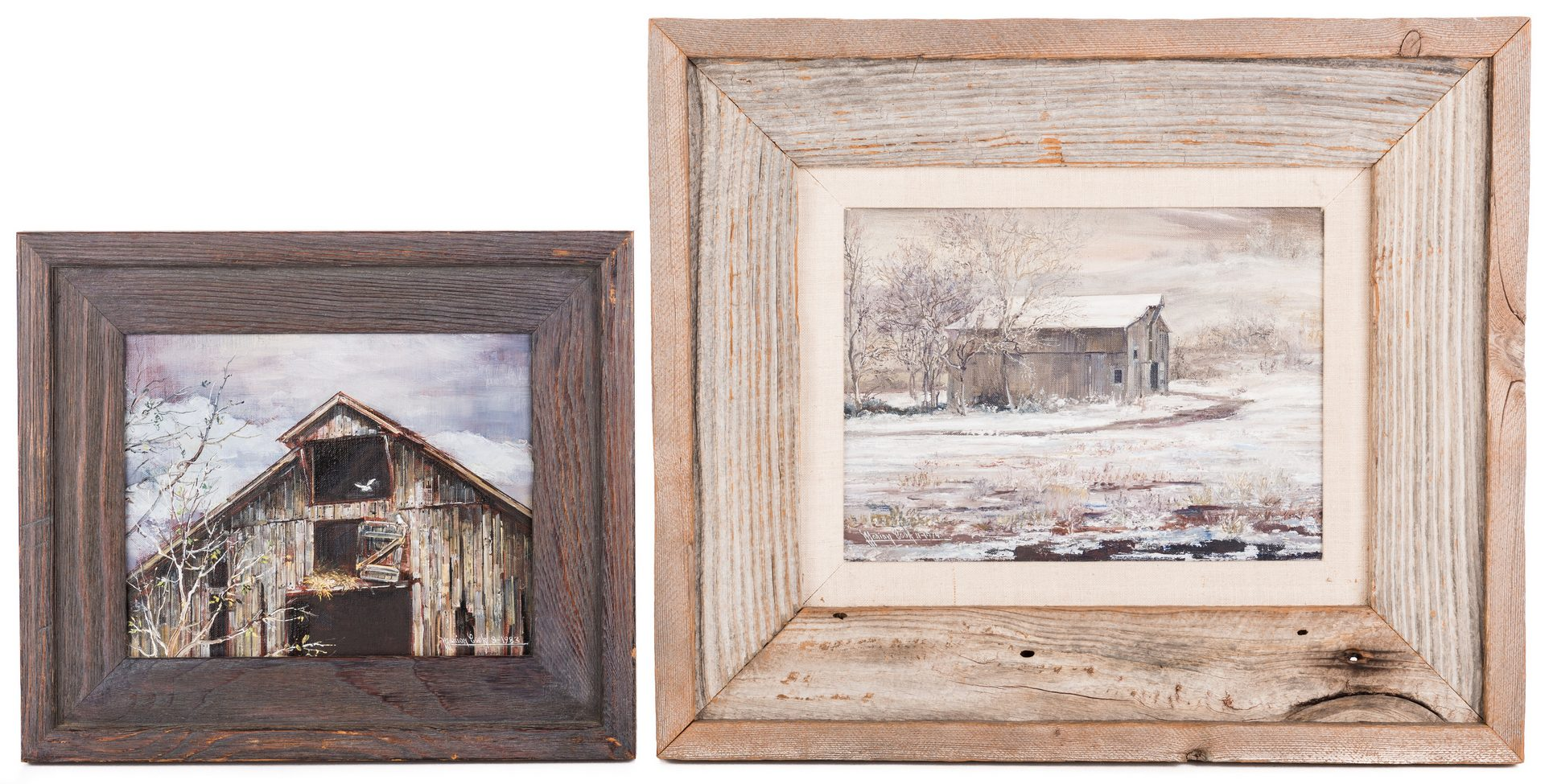 Lot 135: 2 Marion Cook Oil on Canvas Barn Scenes