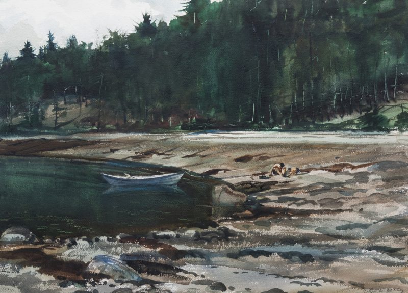 Lot 138: John McCoy Watercolor, Clam Diggers