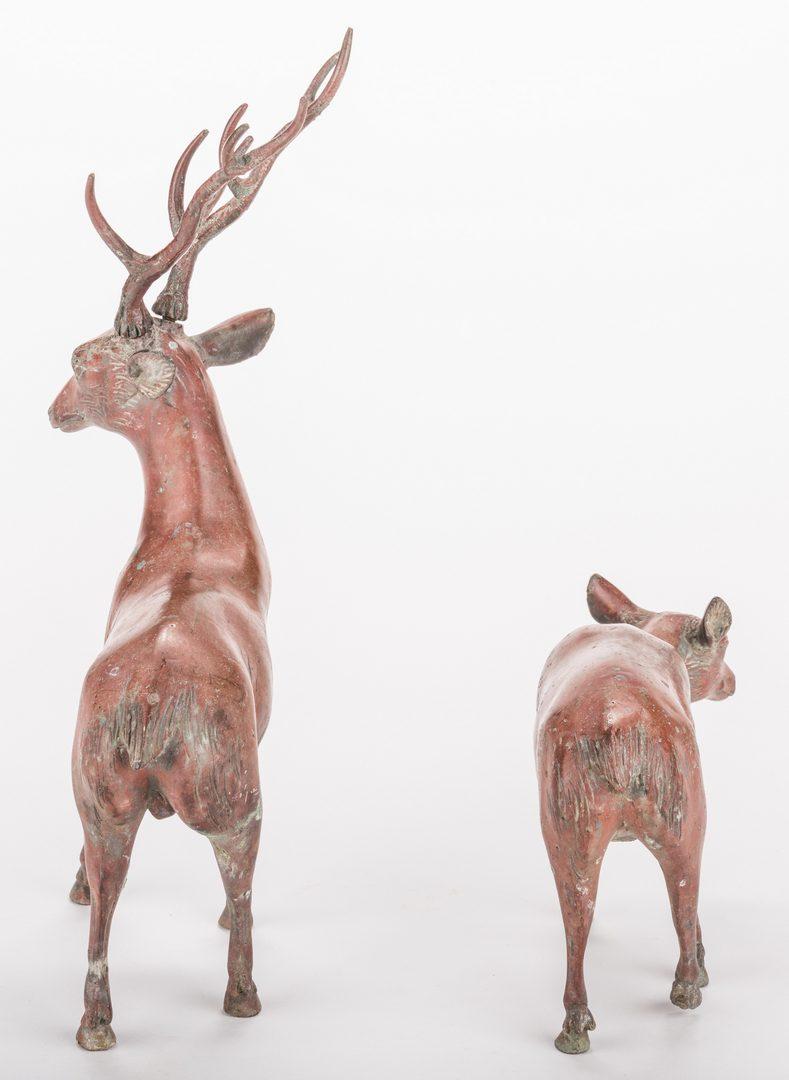 Lot 13: Pair Chinese Bronze Deer, exhibited