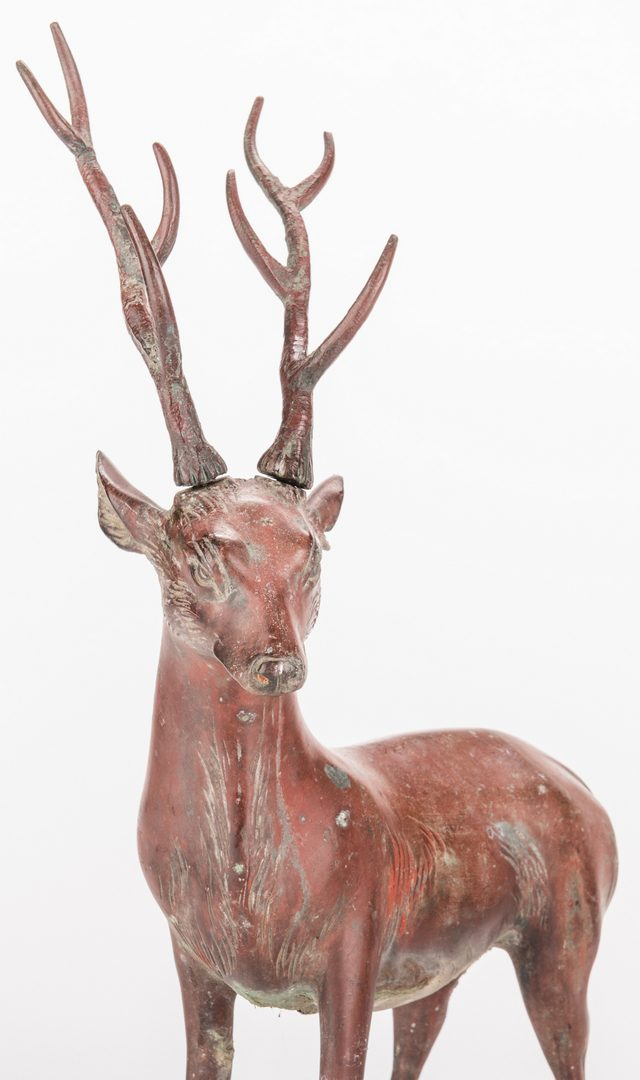 Lot 13: Pair Chinese Bronze Deer, exhibited