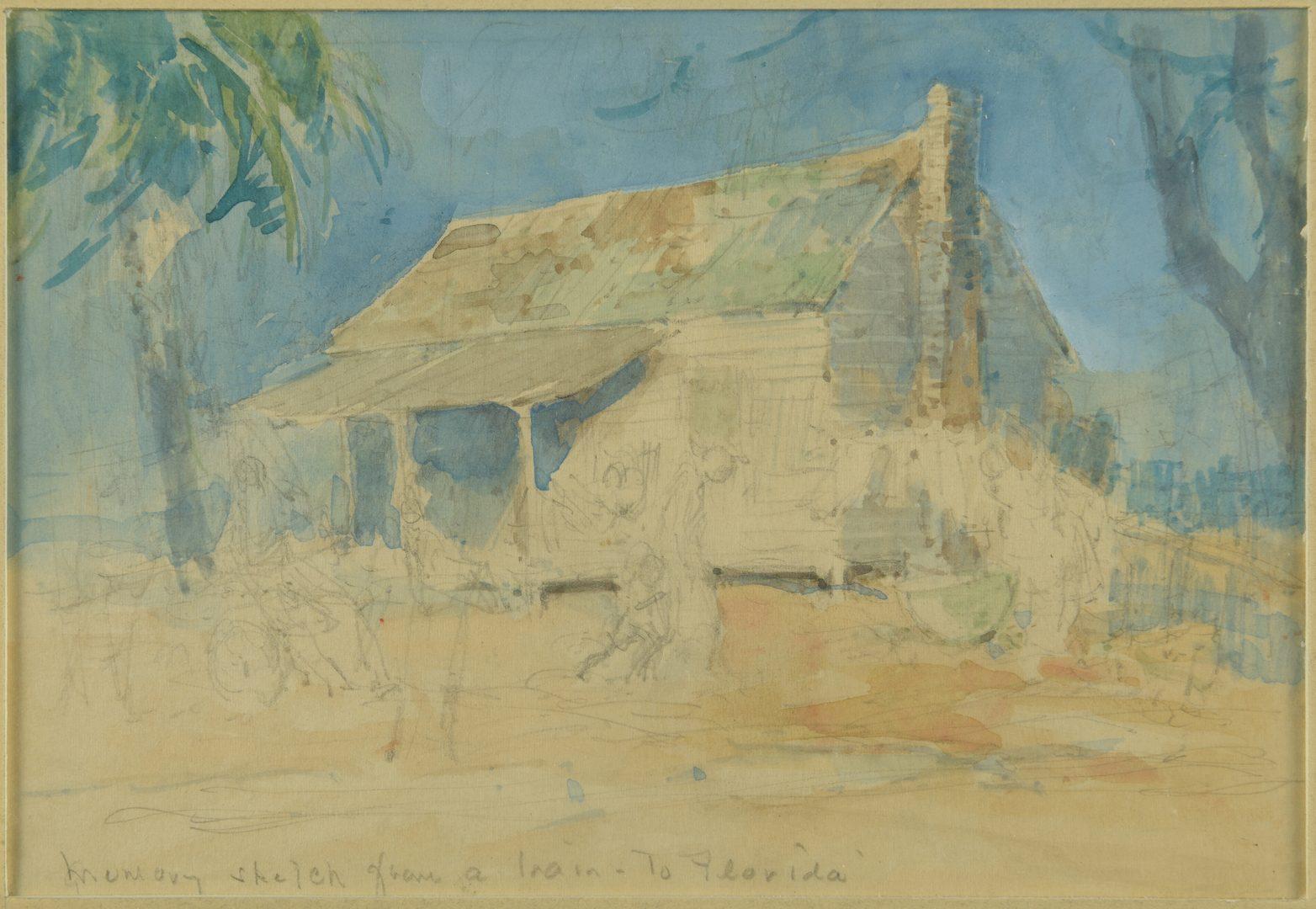 Lot 145: Everett Shinn Watercolor, Southern Landscape