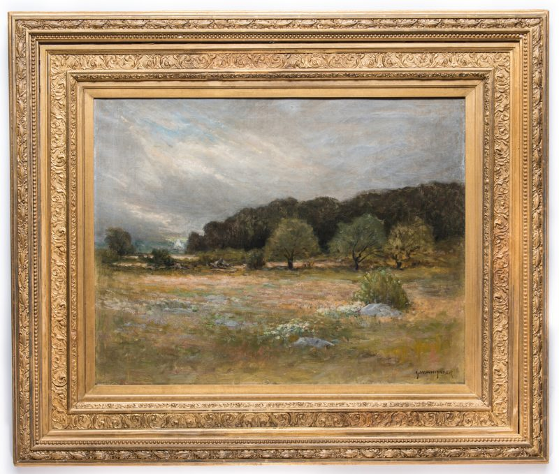 Lot 146: George W. Whitaker, O/C, Barbizon School Landscape