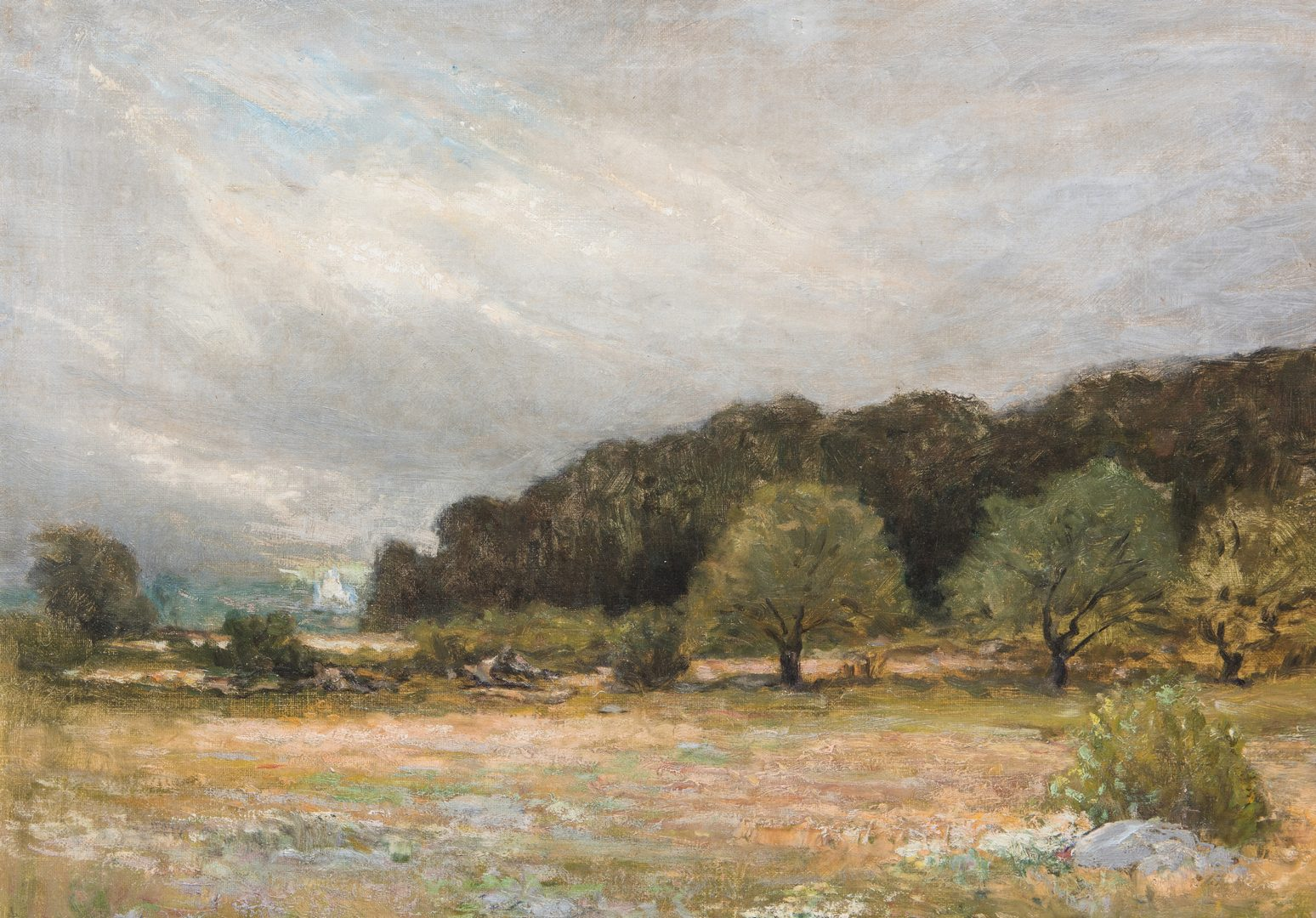 Lot 146: George W. Whitaker, O/C, Barbizon School Landscape