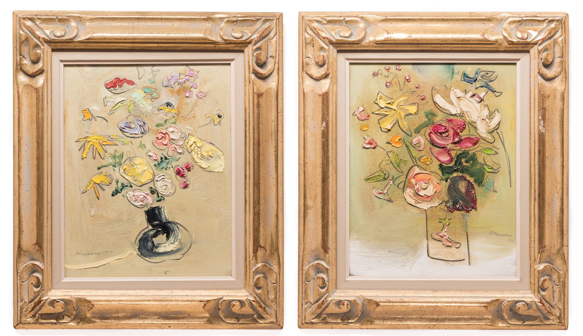 "Lot 148: 2 Sterling Strauser Floral Still Life Paintings, both 20"" x 17"" framed"