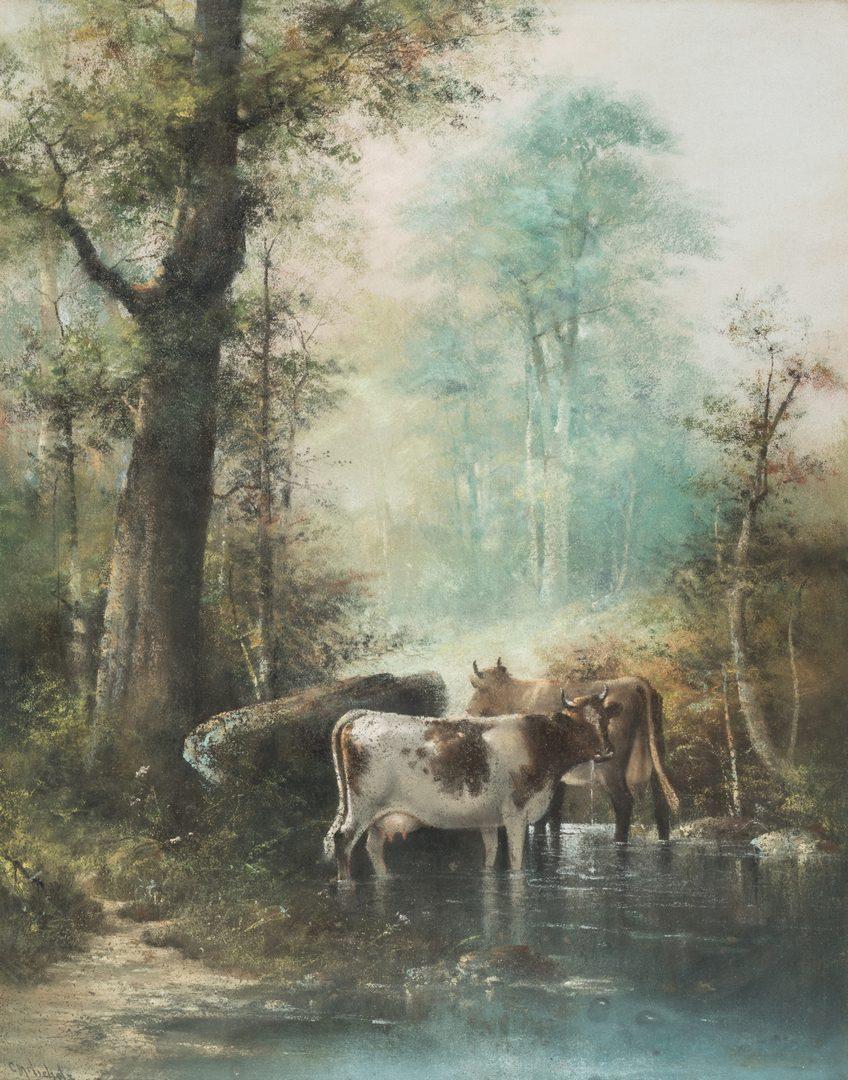 Lot 155: Catherine Nichols, Pastel Landscape with Cows