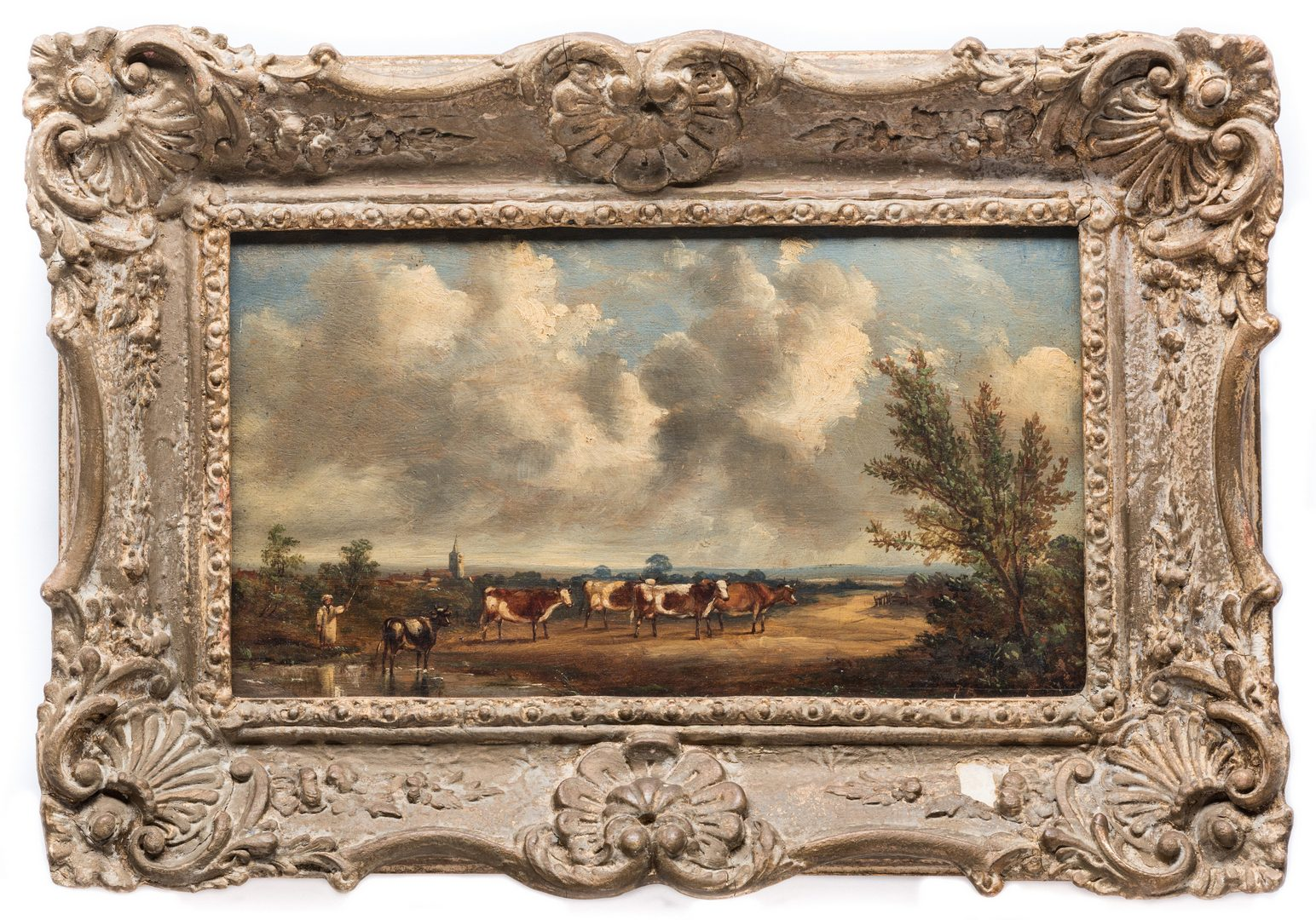 Lot 157: British Oil on Board, Landscape with Cows