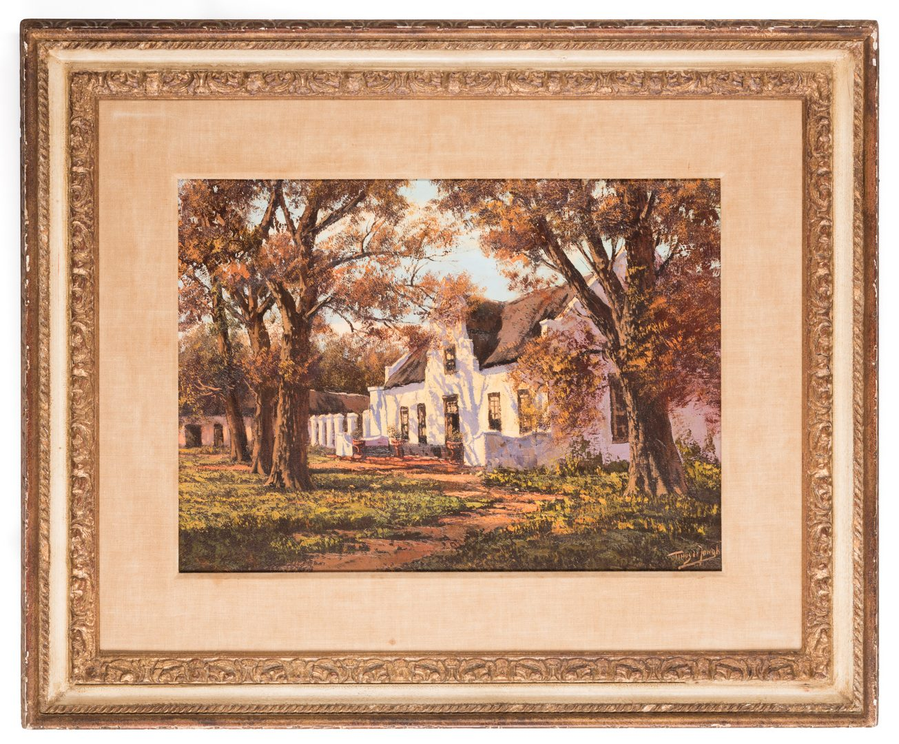 Lot 160: Tinus de Jongh O/C, South African Cottage