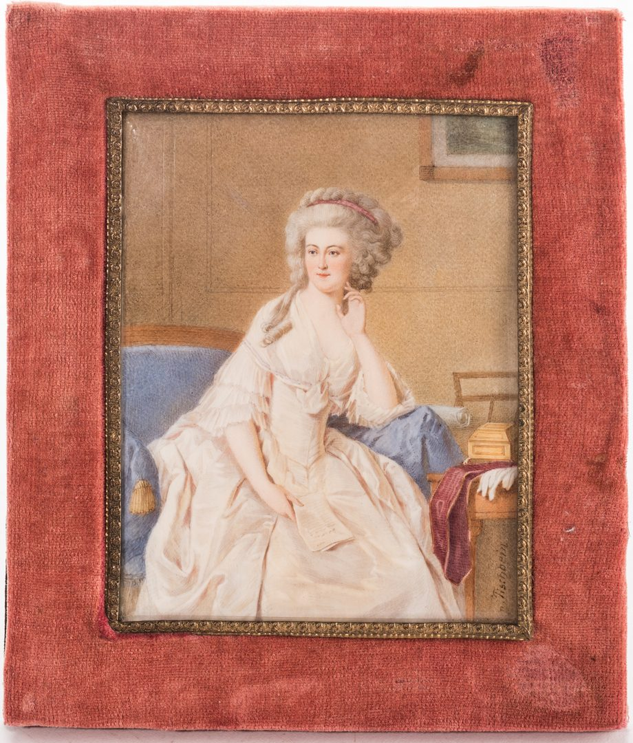 Lot 163: Miniature Portrait, signed Tischbein