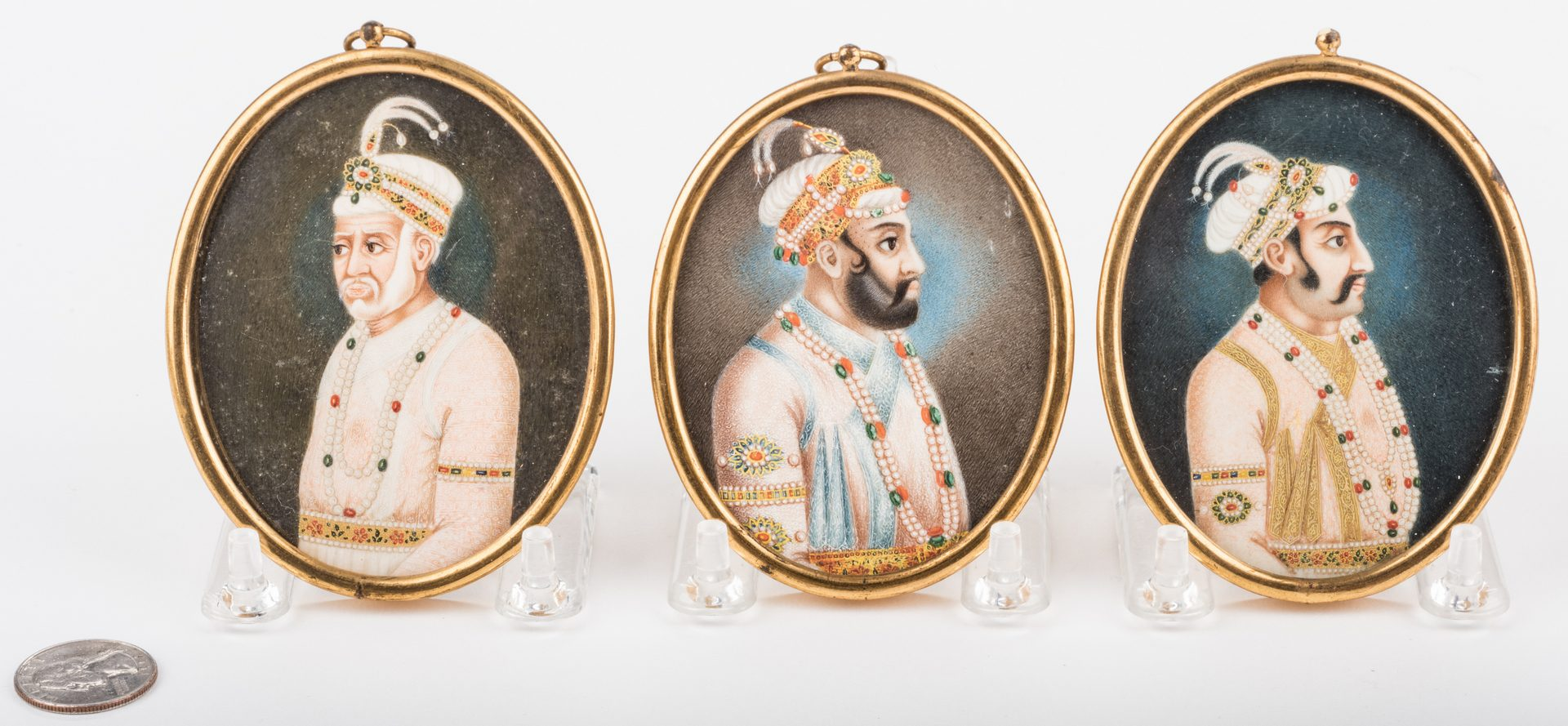 Lot 164: 3 Oval Miniatures of Far East Indian Noblemen