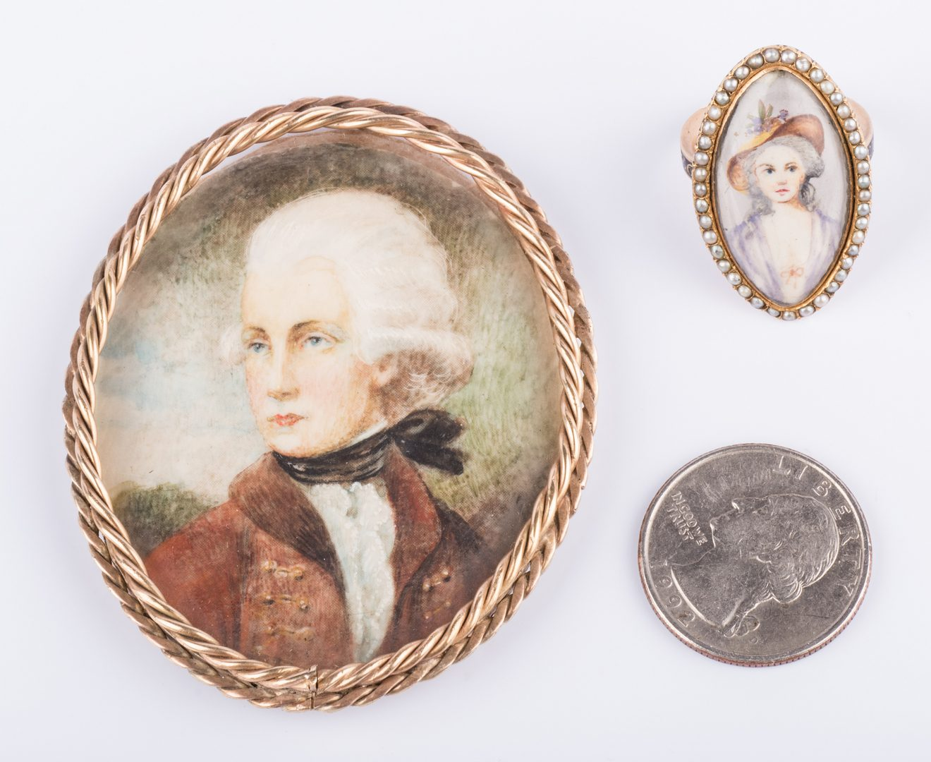 Lot 165: Mourning Portrait Ring and Miniature Portrait