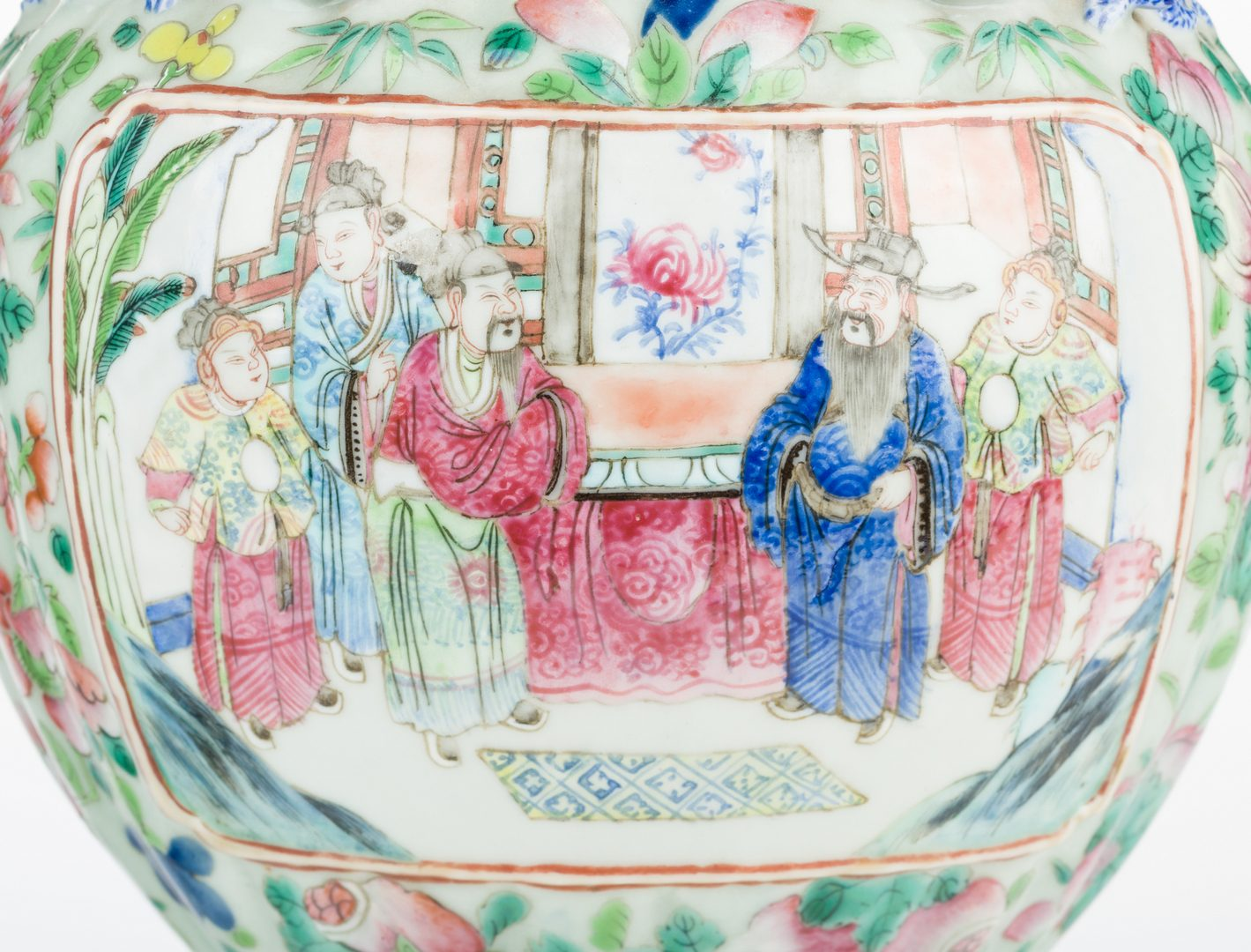 Lot 16: Pr. Chinese Famille Rose Vases w/ Figural Handles