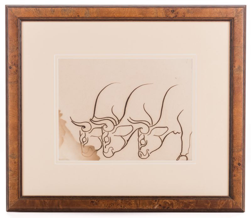 Lot 170: Walter Anderson Drawing, Cattle