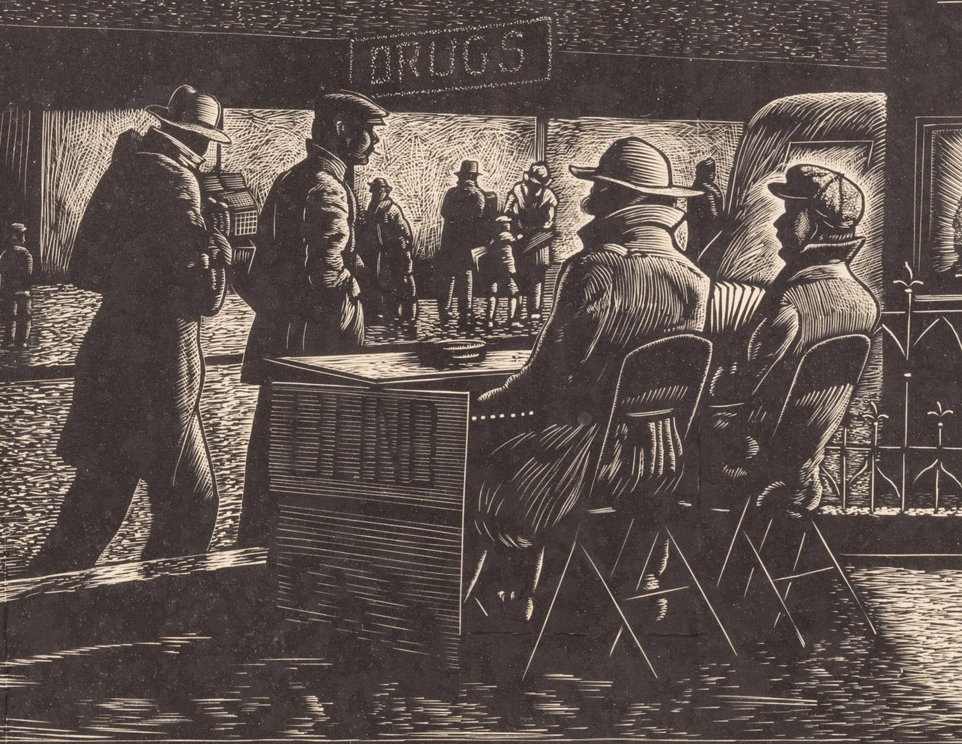 Lot 173: Ernest Pickup Woodcut, Street Singers