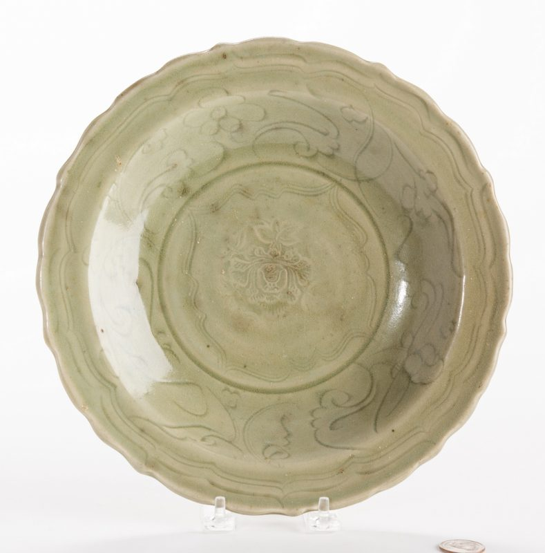 Lot 17: Longquan Celadon Scalloped Charger