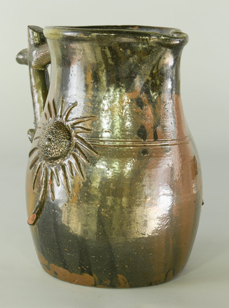 Lot 184: Southern Stoneware Pottery Pitcher, Applied Sunflower