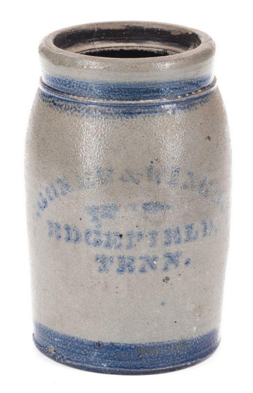 Lot 187: Edgefield TN Stoneware Pottery Jar