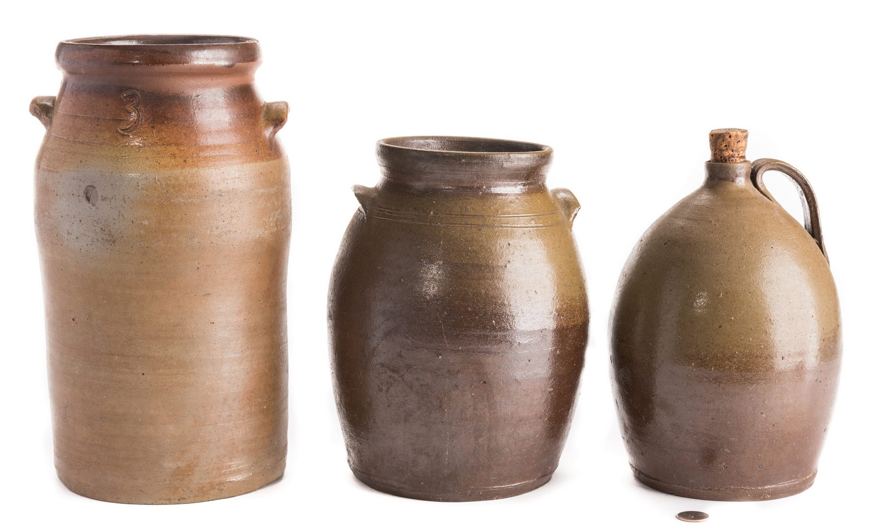 Lot 189: 3 Middle TN Stoneware Items, 2 Jars & 1 Jug