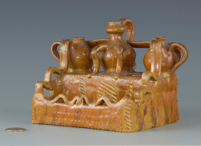 Lot 193: Folk Art Pottery Ink Well, possibly Southern