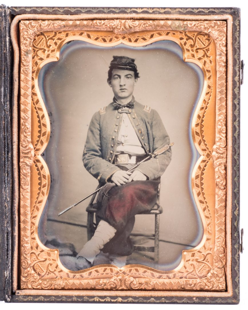 Lot 197: Confederate Zouave Ambrotype, Quarter Plate