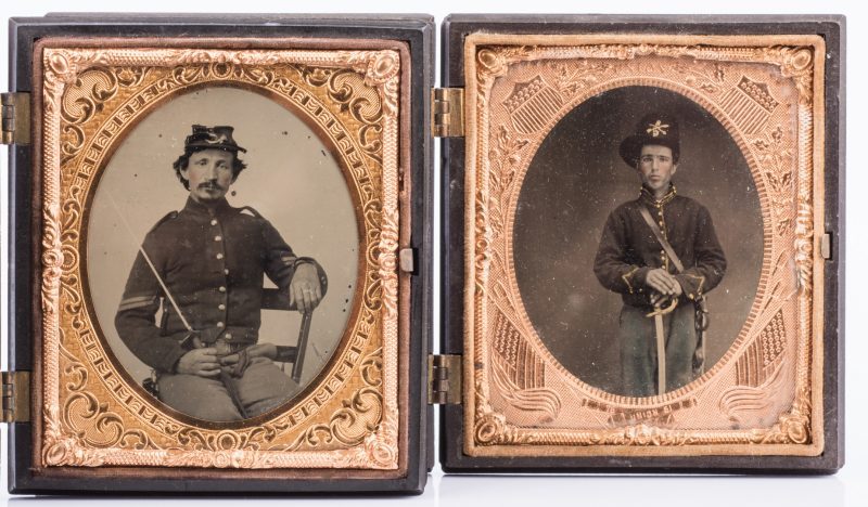 Lot 198: 2 Civil War Union Tintypes, Patriotic Cases