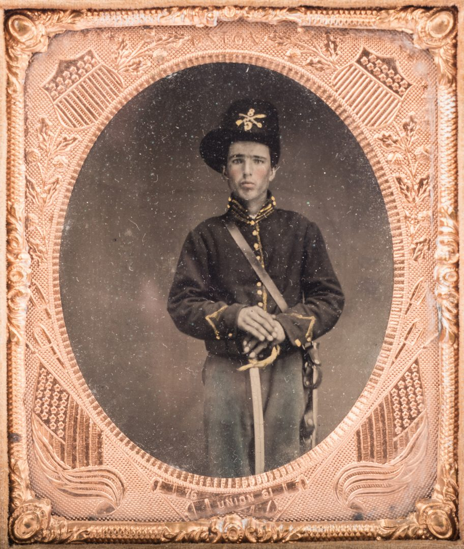 Lot 198: 2 Civil War Union Tintypes, Patriotic Cases