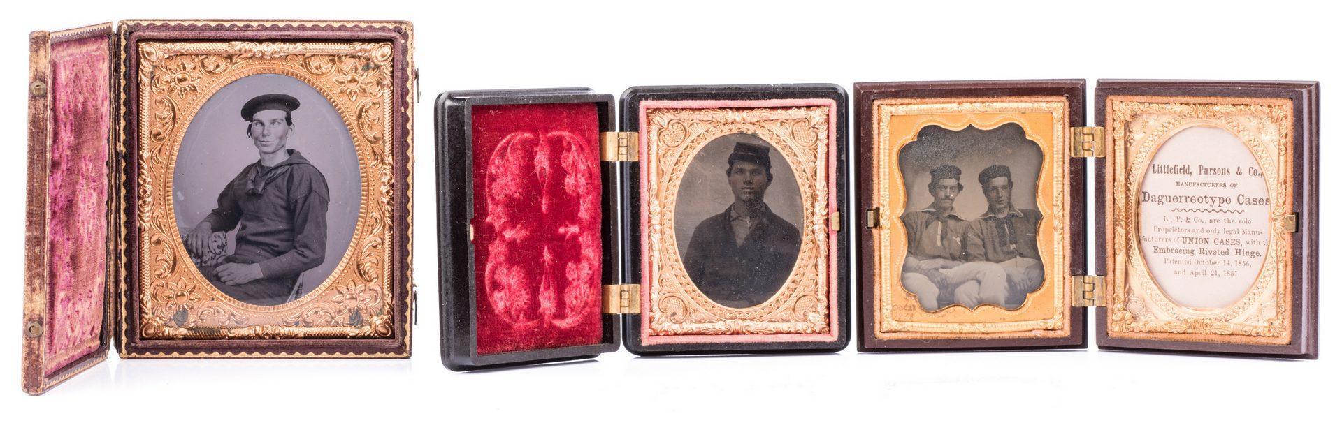 Lot 199: 2 Civil War Union Tintypes & 1 Ambrotype