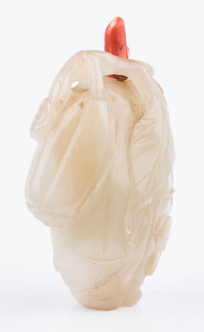 Lot 1: White Jade Carved Melon Snuff Bottle