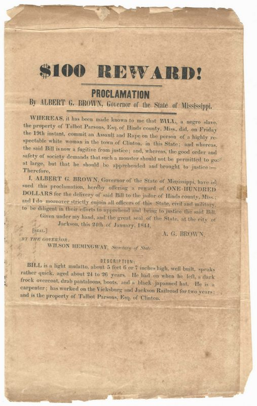 Lot 200: Mississippi Runaway Slave Broadside, dated 1844