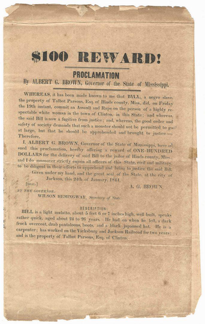 Lot 200: Mississippi Runaway Slave Broadside, dated 1844