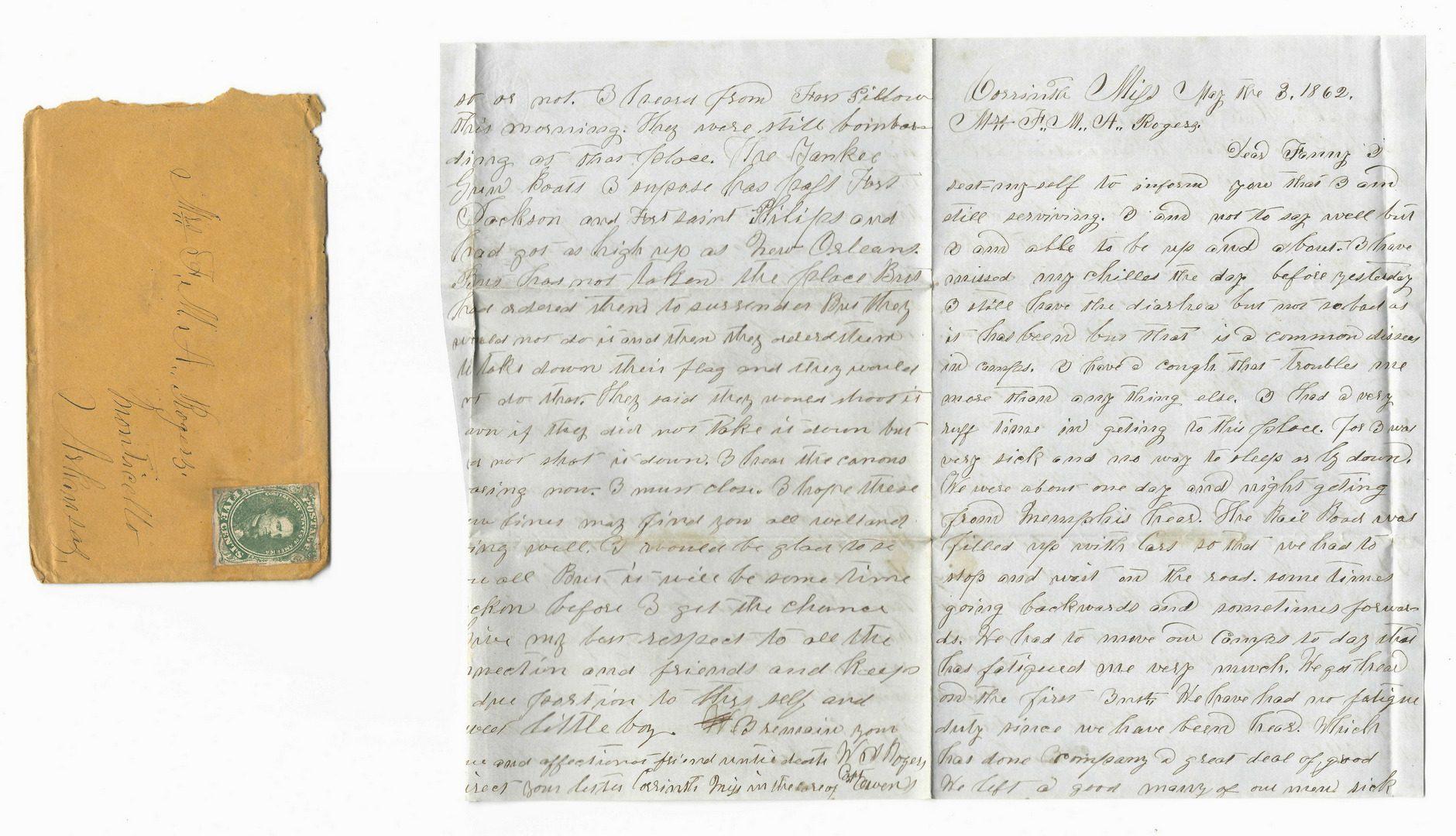 Lot 202: 9 Civil War Confederate Letters, Cpl. W. J. Rogers, Arkansas Artillery