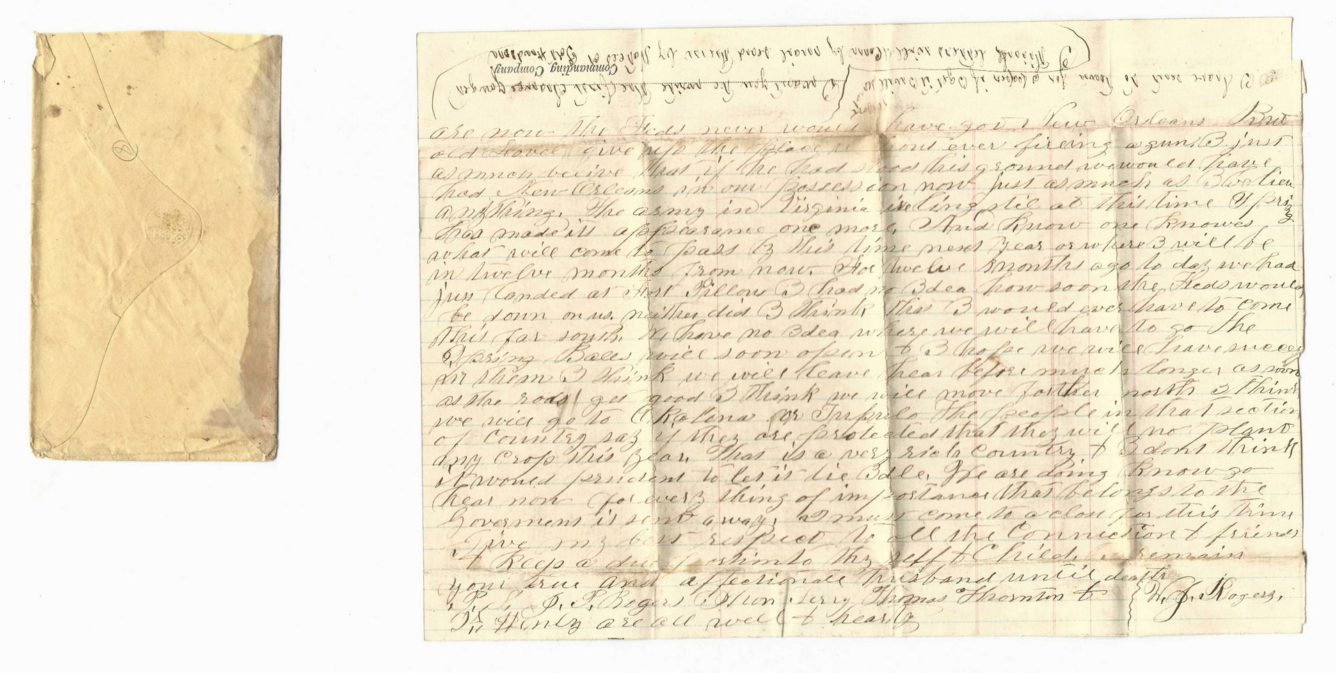 Lot 202: 9 Civil War Confederate Letters, Cpl. W. J. Rogers, Arkansas Artillery