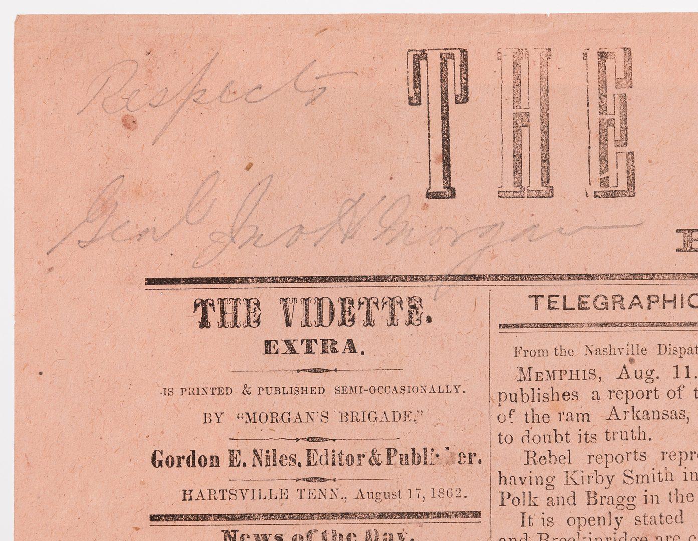 Lot 203: John Hunt Morgan Signed Vidette Extra, 1862, ex- Coyne Collection