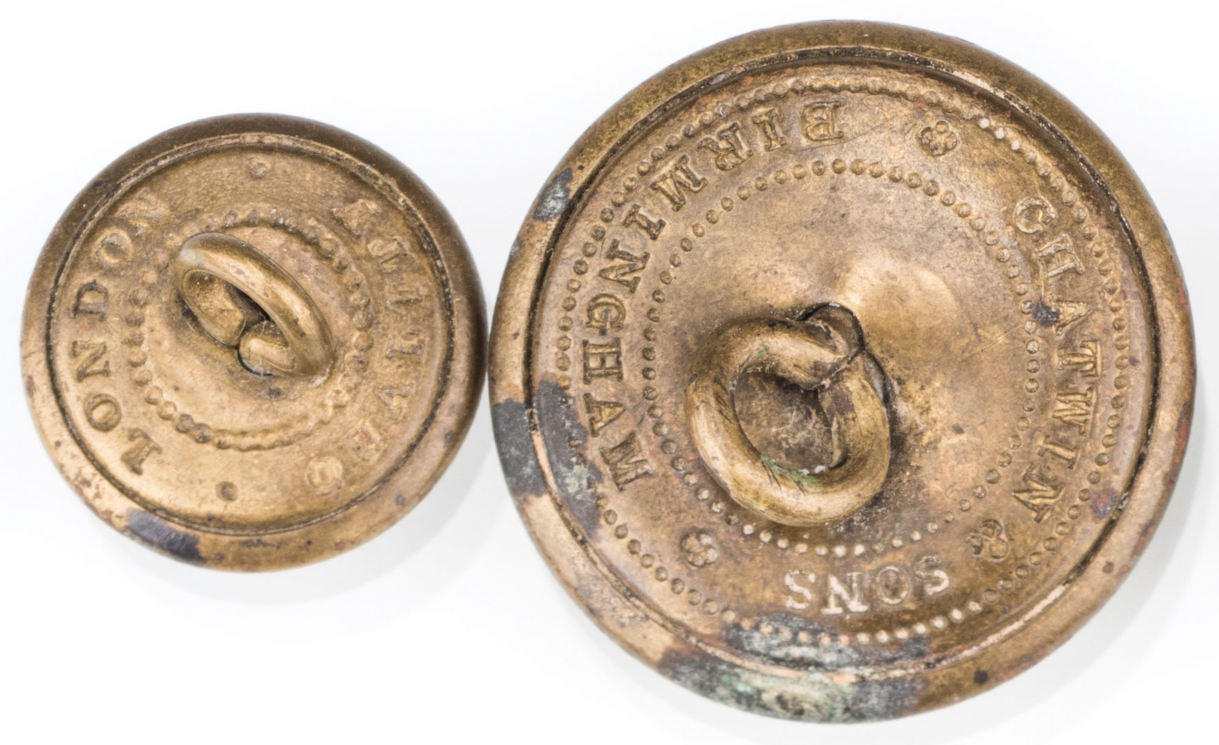 Lot 204: 4 Rare Confederate Uniform Buttons, Chatwin & Sons, Group #1