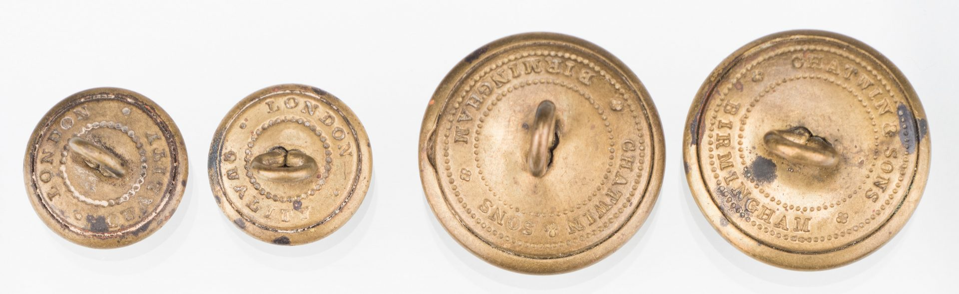 Lot 206: 4 Rare Confederate Uniform Buttons, Chatwin & Sons, Group #3