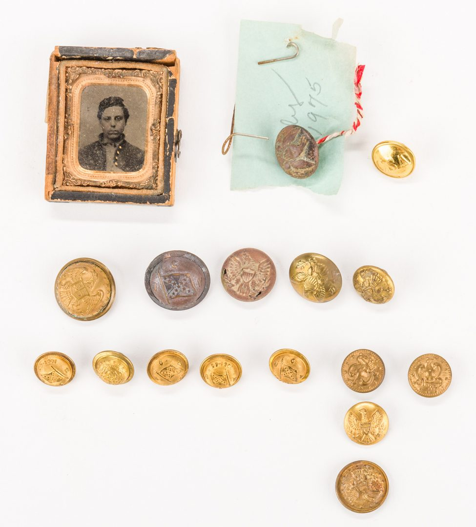 Lot 207: Assorted Civil War Ephemera, inc. Relics, 48 pcs