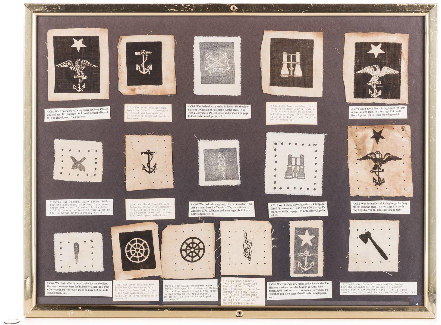 Lot 209: 16 Civil War Federal Naval Uniform Badges
