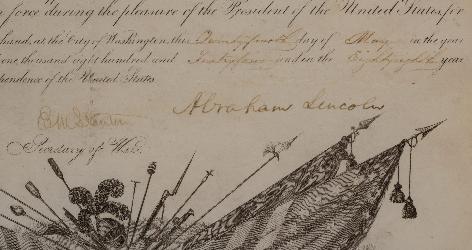 Lot 210: President Abraham Lincoln signed military appointment