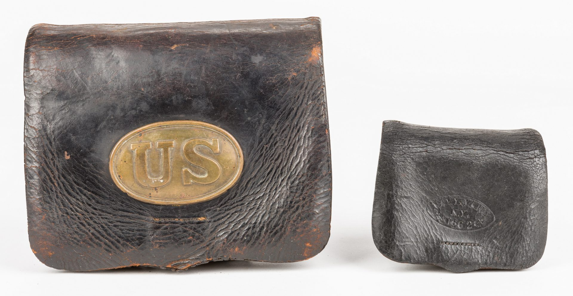 Lot 215: 2 Civil War Items: Cartridge Box & Fuse Pouch