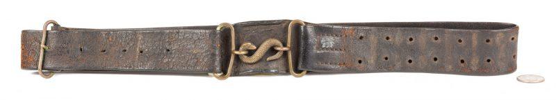 Lot 216: Civil War Waist Belt w/ Snake Buckle, British