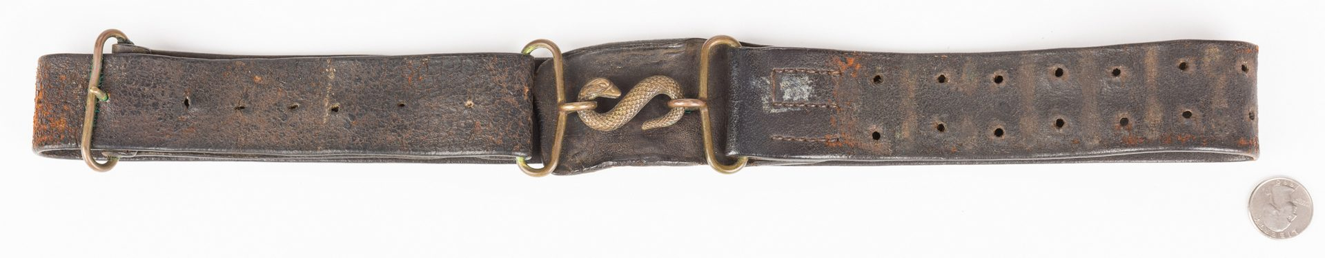 Lot 216: Civil War Waist Belt w/ Snake Buckle, British