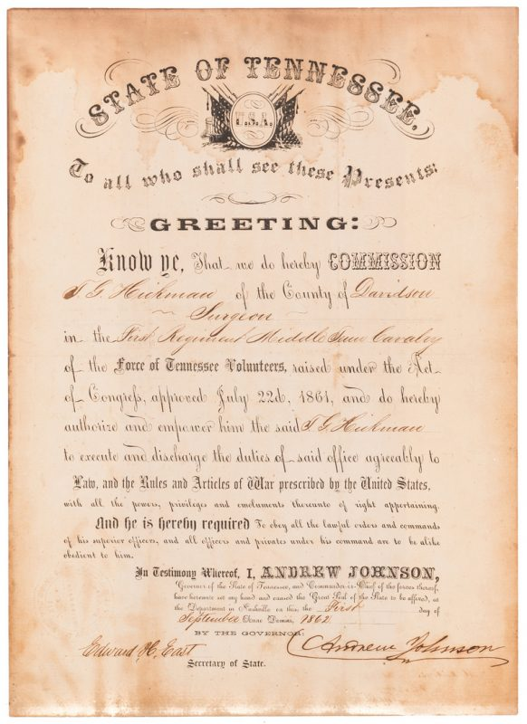 Lot 226: Andrew Johnson Signed Commission, 1862