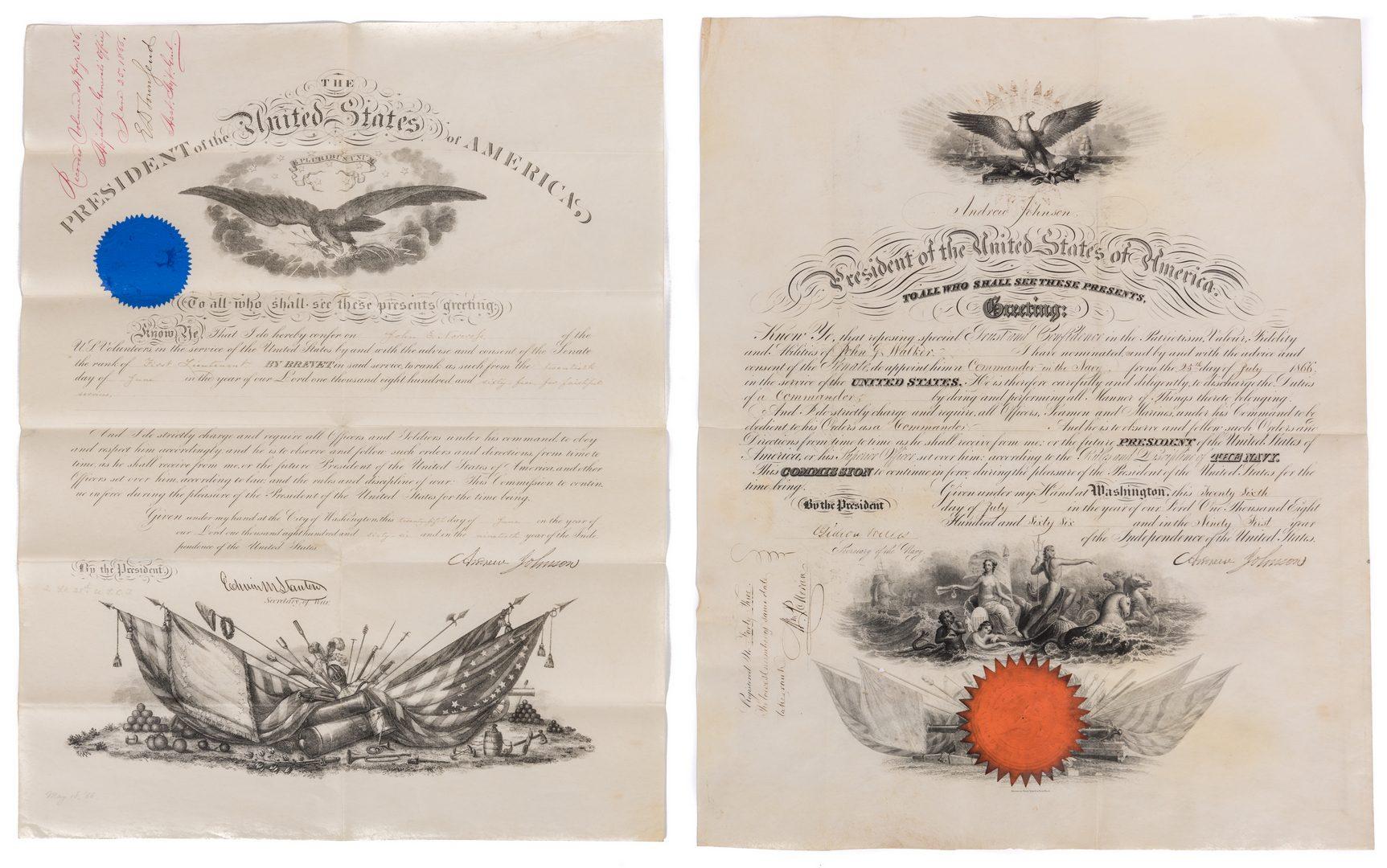 Lot 229: 2 President Andrew Johnson War Commission Documents: Cmdr. John G. Walker, Lt. John Norcross