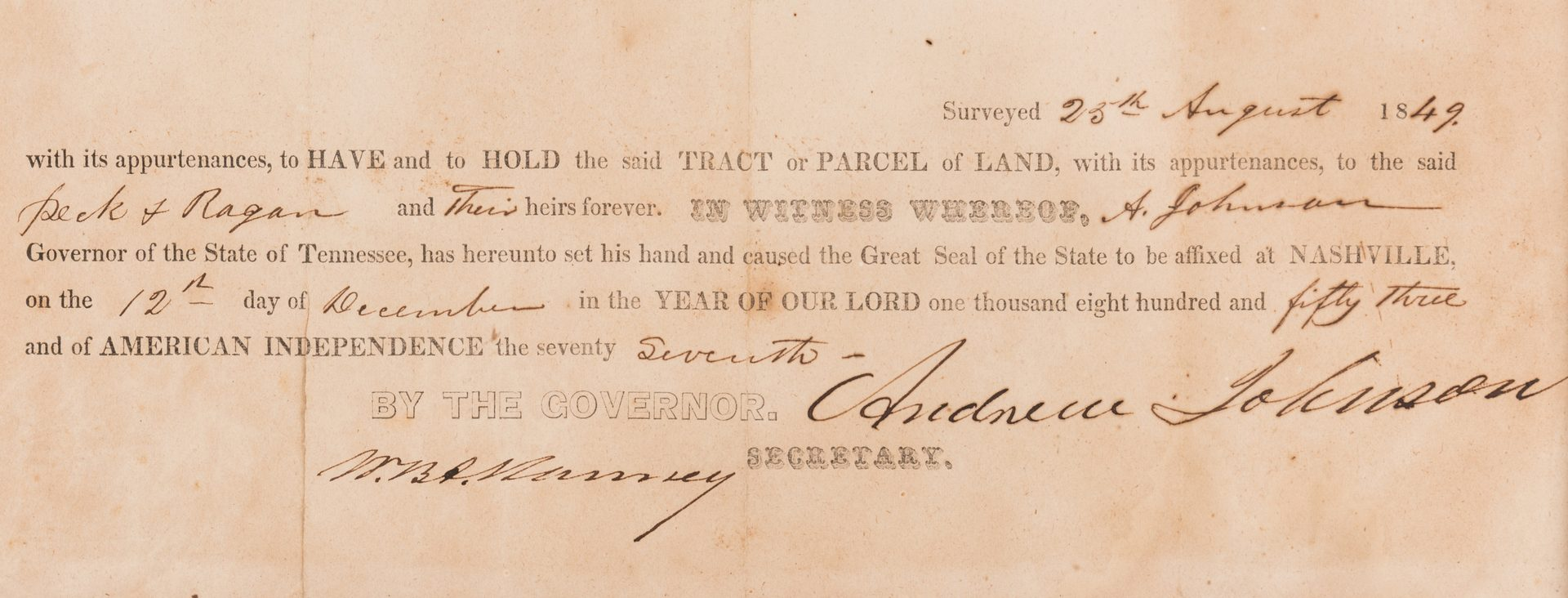 Lot 230: Andrew Johnson Signed Land Grant, 1853
