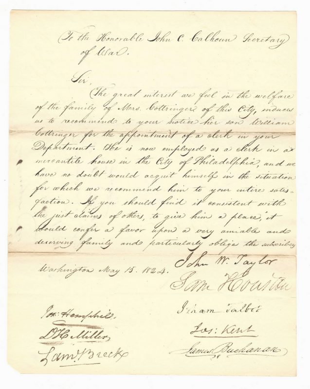 Lot 232: S. Houston & J. Buchanan Signed Letter, 2 prints