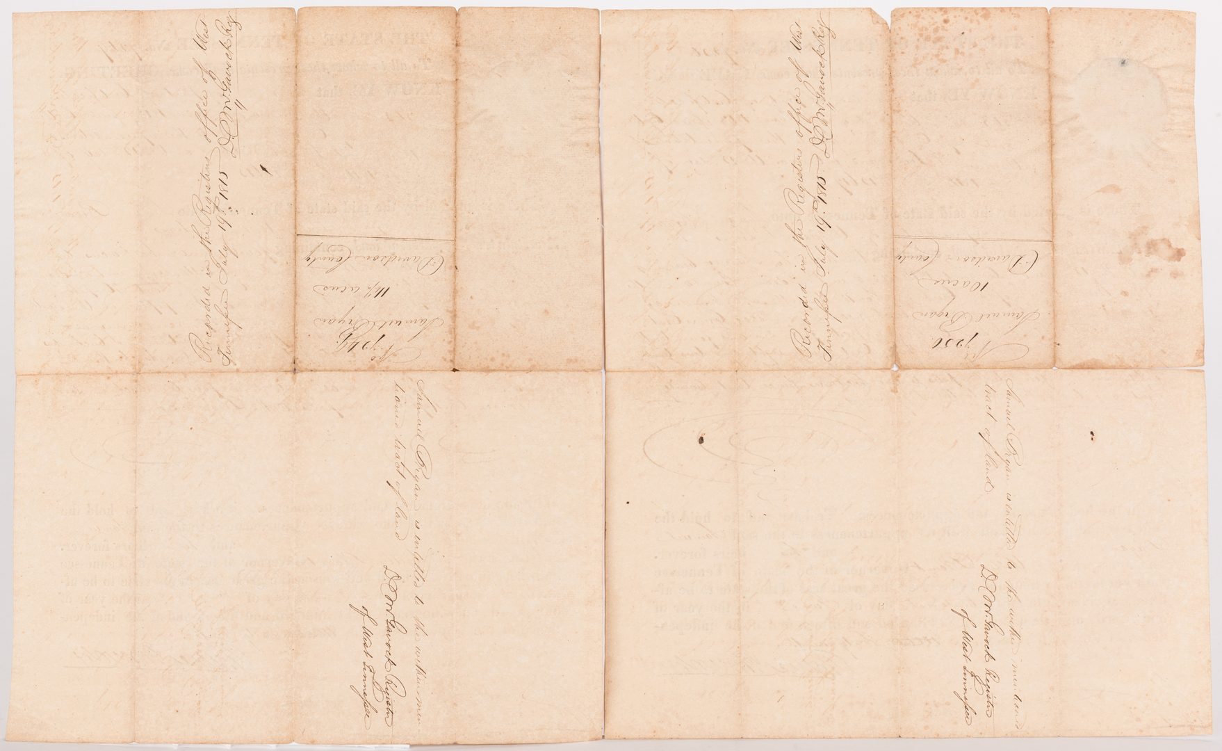 Lot 233: 3 Gov. Willie Blount Land Grants