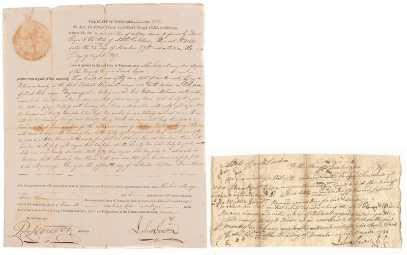 Lot 234: John Sevier Signed Land Grant & Sheriff Summons, 2 items
